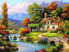 Картина по номерам Дом у реки