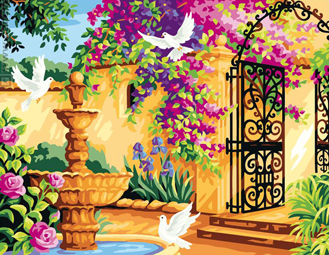 Голуби у фонтана. Картины по номерам