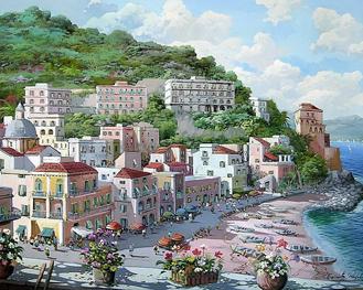 Картина по номерам. Город у побережья моря