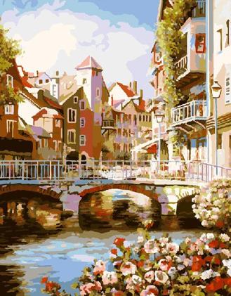 Картина по номерам. Городской мостик
