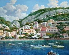 Картина по номерам Лодки у города