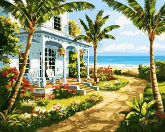 Картина по номерам. Пальмы у домика