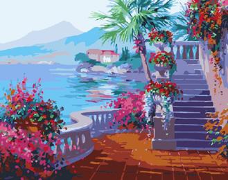 Патио с лестницей. Картины по номерам