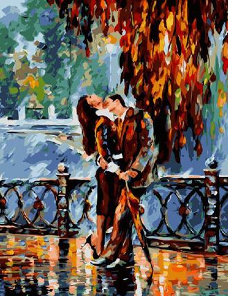 Картина по номерам. Поцелуй после дождя