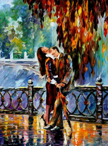 Картина по номерам Поцелуй после дождя