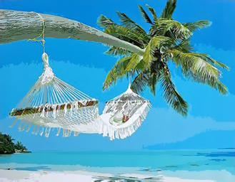 Картина по номерам. У моря под пальмой