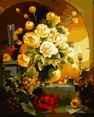 Картина по номерам. Желтые розы и виноград