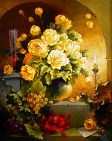 Картина по номерам Желтые розы и виноград
