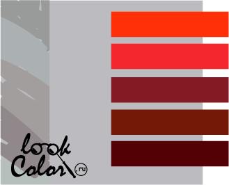 сочетание цветов светло-серый и красный
