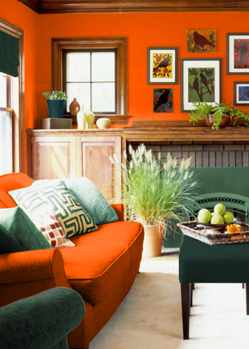 Цвета сочетающиеся в интерьере с оранжевым