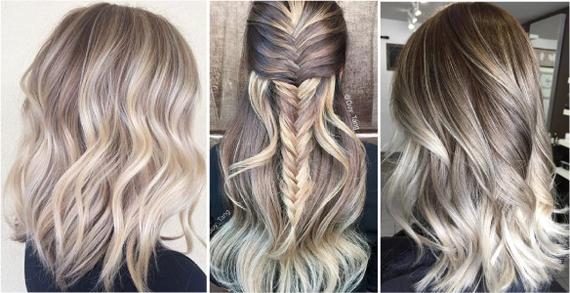Пепельный цвет волос с тёмными корнями