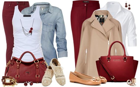 Бордовый цвет в повседневной одежде
