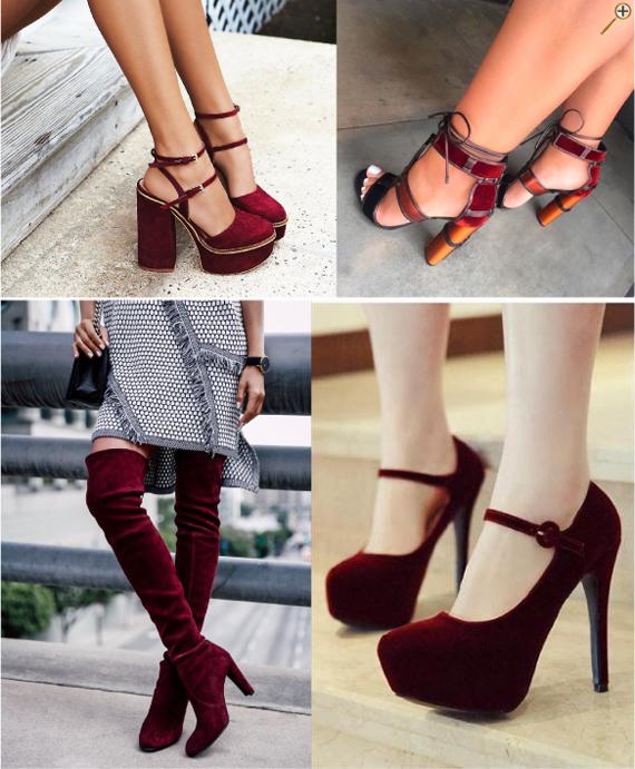 Обувь бордового цвета