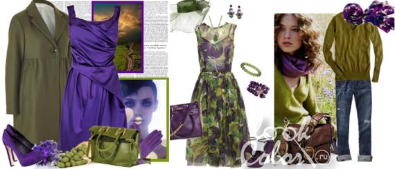 Сочетание оливкового цвета в одежде
