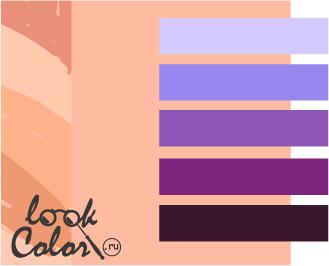 персиковый с фиолетовым