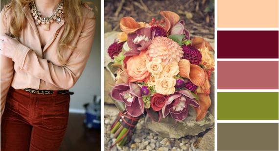Сочетание с персиковым цветом