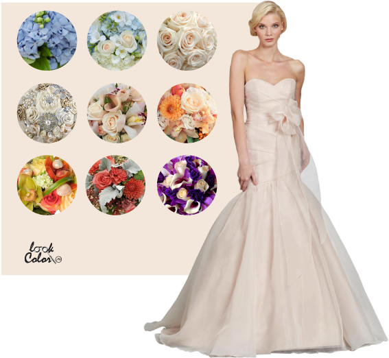 Свадебное платье шампань с букетом