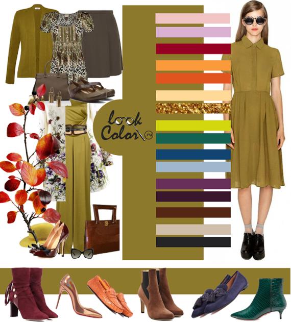 Золотисто-оливковый цвет и сочетание с ним