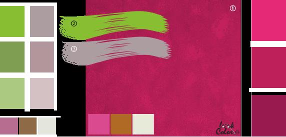 Цвет фуксия, сочетание цветов розовый