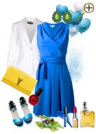 Сочетание  ярко-синиего цвета в одежде
