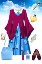 Сочетание  сине-голубого цвета в одежде