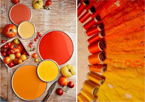 Оранжевый, красный, желтый