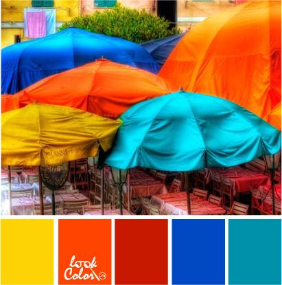 Оранжевый, желтый, синий, красный