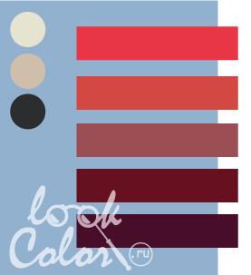 Сочетание серо голубого и красного