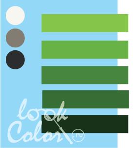 Сочетание светло голубого и теплого зеленого