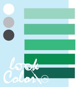 Сочетание бело голубого и холодного зеленого