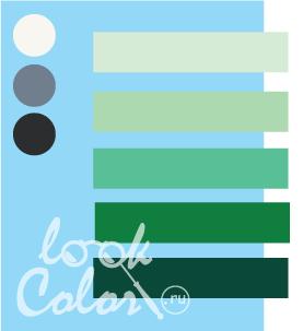 Сочетание светло голубого и холодного зеленого