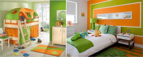 Сочетание оранжевого и белого цвета в интерьере
