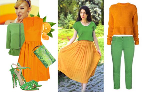 Сочетание оранжевого и белого цвета в одежде