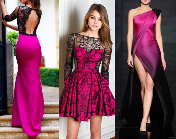 Платье черное с розовым цветом