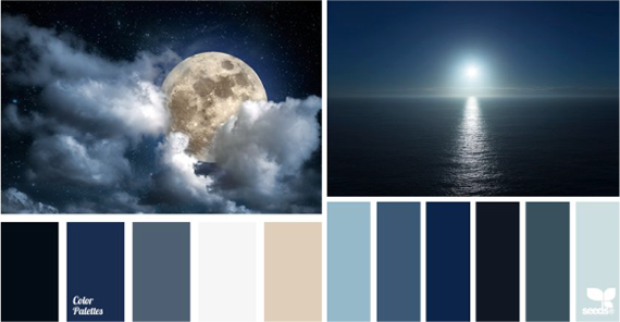 Сочетание черного, синего цвета и