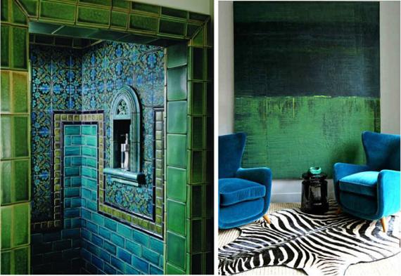 Сочетание зеленого, черного и синего цвета