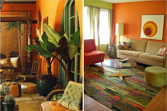 Сочетание зеленого и оранжевого  цвета