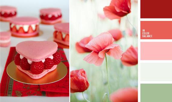 Сочетание розового и красного цвета