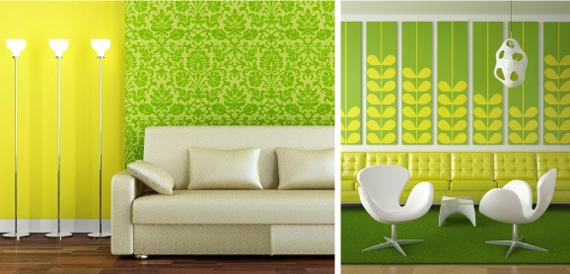 Сочетание зеленого и желтого в интерьере