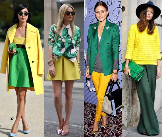 Сочетание желтого и зеленого  цвета