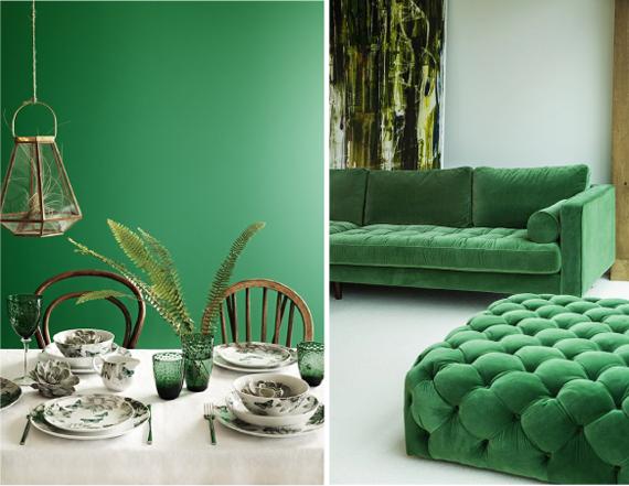 Изумрудно-зеленый в интерьере