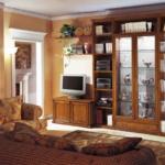 мебель цвета дерева для гостиной