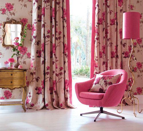 Розовые шторы в интерьере фото
