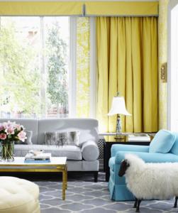 сочетание желтого и синего в интерьере