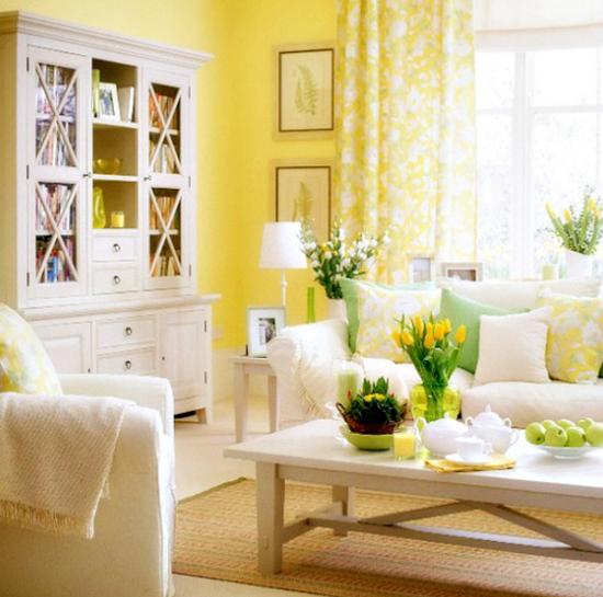 Интерьер с жёлтыми стенами фото