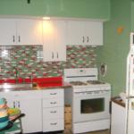 зеленый интерье кухни