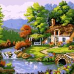 Дом у реки. Картины по номерам