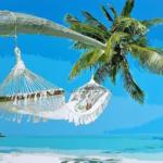 У моря под пальмой. Картины по номерам
