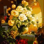Желтые розы и виноград. Картины по номерам
